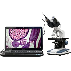 AmScope B120C-E1 40X-2500X LED Biological Binocular Compound Microscope with 3D Double Layer Mechanical Stage +1.3MP USB Digital Camera Imager by United Scope LLC.
