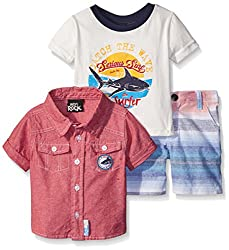 Boys Rock Baby 3 Pc Short Set Catch The Wave, Red, 24 Months