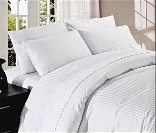 Srp Linen 500-Thread-Count Super Soft Zipper Closure Designer 1-Piece Luxury Duvet Cover King/Eastern King Stripe White front-1035400