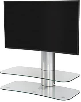 Off-The-Wall ARC ST 1000 Clear Glass and Silver TV Stand for up to 60 inch TVs