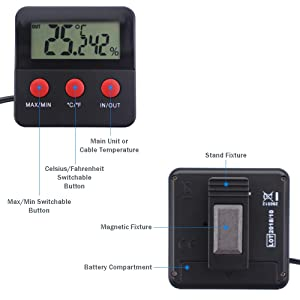 Digital Reptile Tank Max Min Thermometer and Hygrometer With Remote Probes - Ideal for Reptile Tanks, Terrariums, Vivariums, Brooders, and Incubators (Color: Black)