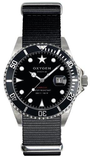 Oxygen EX-D-MOB-40-BL - Reloj analógico de cuarzo unisex, correa de nailon color negro (agujas luminiscentes)