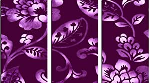 LARGE 3 PANEL CANVAS ART PURPLE FLORAL ARTWORK READY TO HANG
