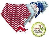 Bandana Bibs For Boys & Girls - Cotton Burp Cloth Set of Baby Bibs - Organic Bibs With Perfect Stylish Unisex Design by DINIXI - Ideal Baby Shower Newborn Gift Idea - Bonus Pacifier Clip