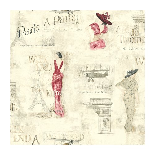York Wallcoverings Europa Ii Weekend In Paris Prepasted Wallpaper, Cream/Cranberry/Grey/Tan front-92300
