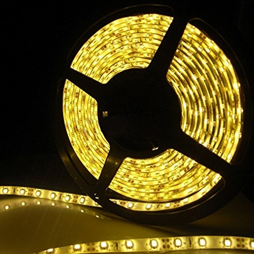 Yellow Led Strip Light, Waterproof Led Flexible Light Strip 12V With 300 Smd 3528 Led, 16.4 Ft / 5 Meter