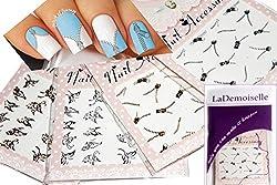 Silver & Gold Nail Art Water Slide Tattoo Sticker---Zipper and Butterflies---4 Pack