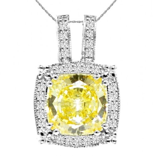 0.45 CT TW Diamond & Fancy Yellow Quartz Pendant in 14k White Gold image