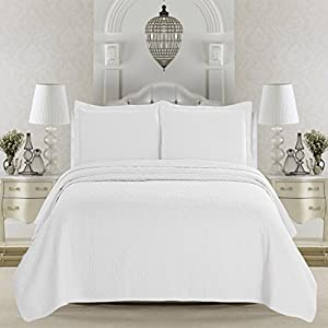Emerson Collection 3-Piece Quilt Set with Shams in Solid Colors By Home Fashion Designs (Full / Queen, White)