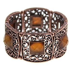 1928 Jewelry Copper-Tone Smoke Topaz Filigree Stretch Bracelet