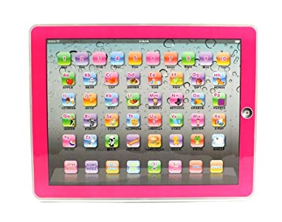 Y-Pad English Children's Toy Computer Tablet w/ 4 Modes, Volume and On/Off Buttons, Learn & Play, Lights & Sounds (Pink)