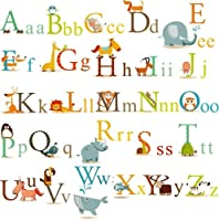 Animals Alphabet Baby Nursery Peel & Stick Wall Art Sticker Decals for Boys and Girls by Cherry Creek LLC