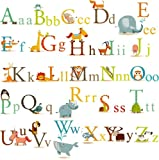 Animals Alphabet Baby Nursery Peel & Stick Wall Art Sticker Decals for Boys and Girls