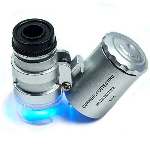 Ewin(R) 2Pcs Mg9882 60X 100X Mini Led Eye Jewelry Loupe Fold Unfold Magnifier Microscope