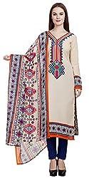 Divyaemporio Women'S Faux Cotton Off White Salwar Suits Dress Material