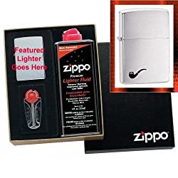 """Pipe Lighter - Brushed Chrome"" Zippo Lighter Gift Set"