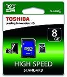 Toshiba Scheda di Memoria MicroSDHC 08 GB + Adattatore SD, Cl 4, Nero