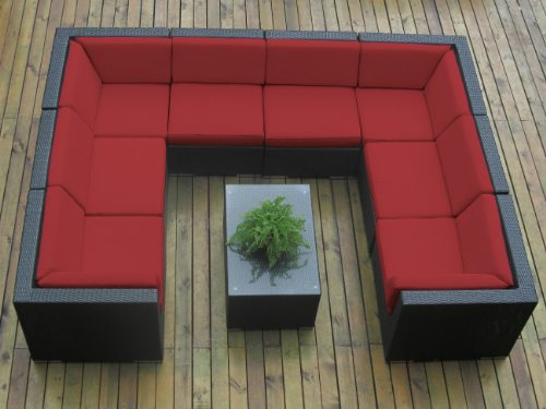 Genuine Ohana Outdoor Sofa Patio Wicker Furniture 9pc All Weather Couch Set with Free Patio Cover picture