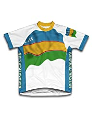 Karakalpakstan Flag Short Sleeve Cycling Jersey for Women