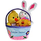 Plush Easter Basket For Baby - Toddler and Kids Of All Ages. Set Includes Plush Easter Bunny, Plush Easter Egg, Plush Easter Chick, Easter Basket