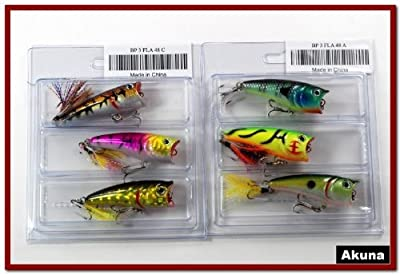 Lot Of 6 Akuna 24 Topwater Bass Trout Fishing Popper Lures - A from Akuna
