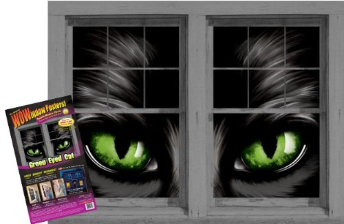 WOWindow Posters Green Eyed Cat Glowing Eyes Halloween Window Decoration, Includes Two 3 by 5 feet Posters