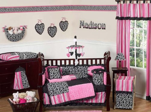 Pink and Black Madison Girls Boutique Baby Bedding 9pc Crib Set