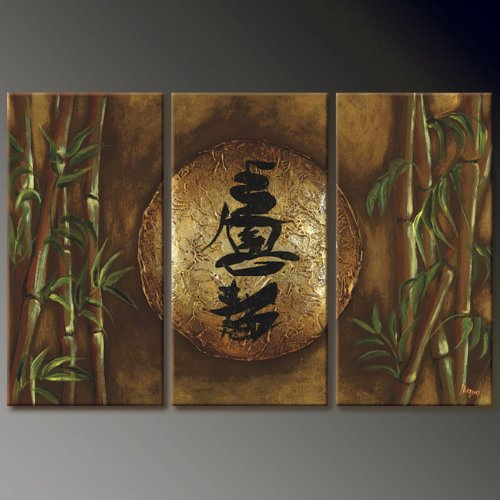 Asian Zen Decorative Bamboo Oil Painting Hand Painted Wall