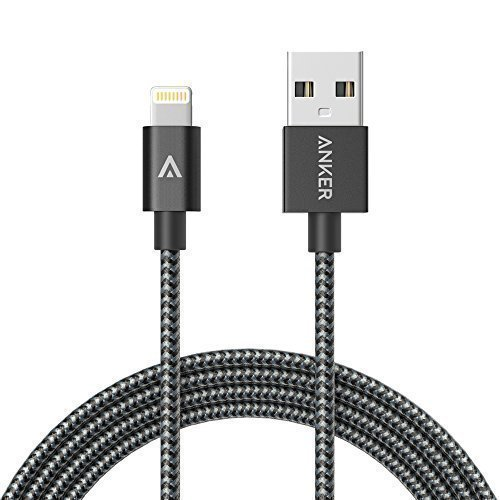 iPhone Charger, Anker 6ft Nylon Braided USB iPhone Cable with Lightning Connector [Apple MFi Certified] Ultra-High Lifespan Sync and Charge Cable for iPhone 6/ 6 Plus/ 6s, iPad Air 2, iPad Pro and More (Space Gray)