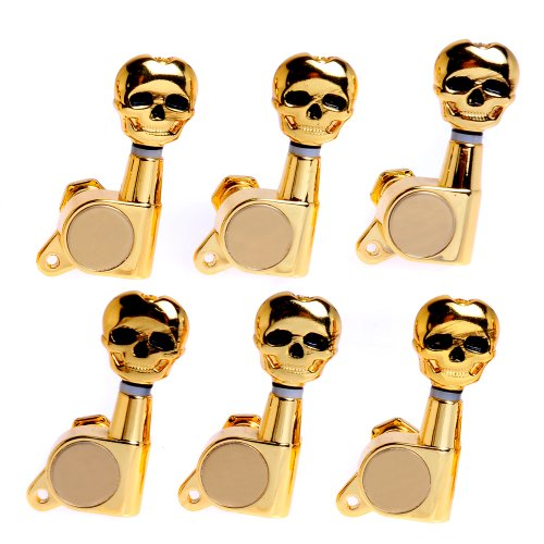 1Set 6L Skull Guitar Sealed-Gear Tuning Pegs Machine Head Gold front-622202