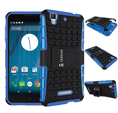 TARKAN Hard Armor Hybrid Rubber Bumper Flip Stand Rugged Back Case Cover For Micromax YU Yureka / Yureka Plus - BLUE