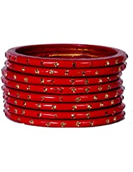 Dulari Stone Embellished Red Lac Round Simple Bangles For Women (Set Of 8 Bangles)