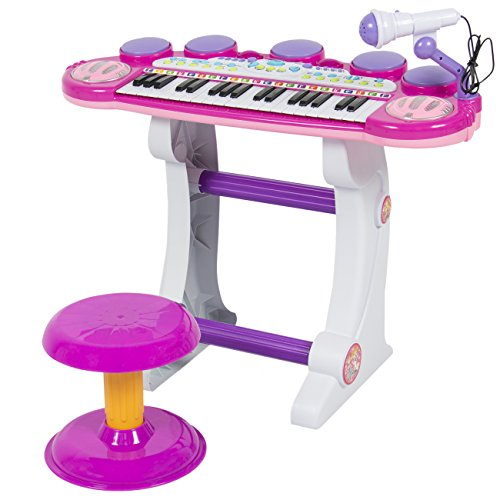 Best-Choice-Products-Musical-Kids-Electronic-Keyboard-37-Key-Piano-W-Microphone-Synthesizer-Stool-Records-and-Playbacks-Music-Pink