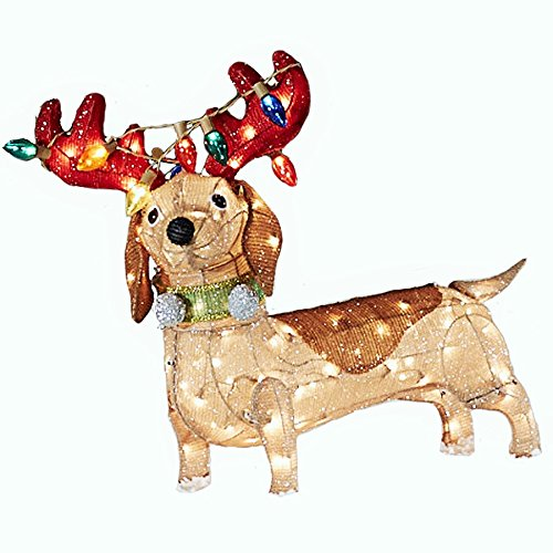 26 pre lit brown tinsel brown dachshund dog reindeer antlers colorful string lights indoor outdoor sculpture christmas decoration