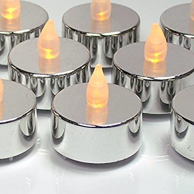Silver Tea Light Candles - Set of 12 Flameless Tealights - Metallic Silver Candles with Flickering Flame - 25th Wedding Anniversary - Silver Wedding Decorations - Graduation Parties - No Flame Candles