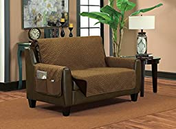 Deluxe Reversible Slip-Resistant Furniture Protector Slipcover with 2 Storage Pockets (Chair, Bronze/Brown)