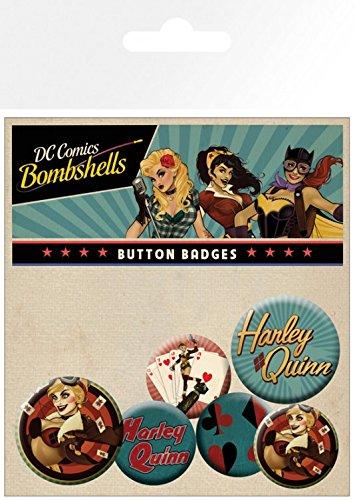 Set: DC Comics, Harley Quinn Bombshell, 4 X 25mm & 2 X 32mm Distintivi Set Di Badge (15x10 cm) e 1 Sticker sorpresa 1art1®