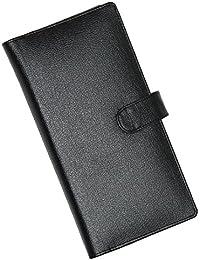 ZAOMA LEATHERETTE CHEQUE BOOK HOLDER FOLDER / PASSPORT, DEBIT - CREDIT ATM CARD HOLDER WALLET - BLACK