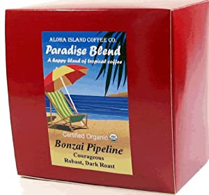Aloha Island Coffee Dark Roast Certified Organic Coffee Pods, 18 Pods, 18-Count