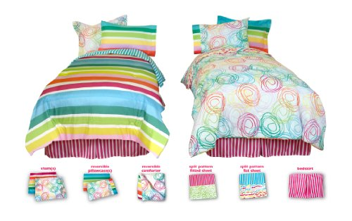 Little Miss Matched 8-Piece Swirly Curly Microfiber Bed Set, Full