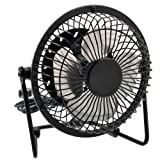 Pixnor 4-inch 360-degree Rotating USB Powered Metal Electric Mini Desk Fan for PC /Laptop /Notebook (Black)