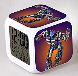 ENJOY LIFE : Cute Digital Multifunctional Alarm Clock With Glowing Led Lights and Transformers sticker, Good Gift For Your Kids , Comes With Bonuses (04)