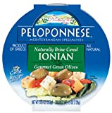 Peloponnese Ionian Olives, Gourmet Green Olives, 4.5-Ounce Plastic Tubs (Pack of 6)