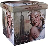 UberLyfe Large Foldable Ottoman Storage Box cum Stool - Vintage Marilyn Monroe