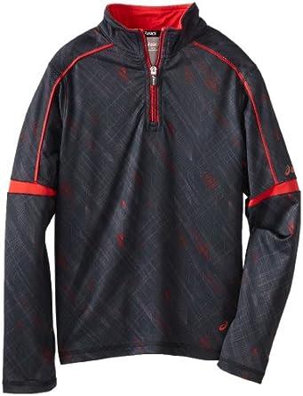 ASICS Big Boys' Linear 1/4 Zip Printed Scuba Fleece, Black, X-Large
