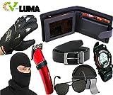 V-Luma Combo of 7 Pcs Leather Black Wallet+Belt+Avaitor Sunglass+Nova Trimmer+Knighthood Gloves+Face Mask+S-Showy Sport Watch