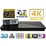 2014 Blu Ray Lecteur SONY BDP-S6200 2D/3D 2K/4K UPCONVERT Wi-Fi Multi Region Zone Free Blu Ray DVD Player - PAL/NTSC - Worldwide Voltage 100~240V - 1 USB, 1 HDMI, 1 COAX, 1 ETHERNET Connections + 6 Feet HDMI Cable Included.