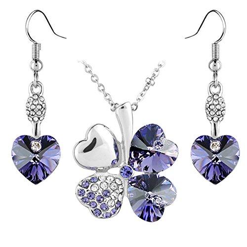 Le Premium® -trifoglio Gioielli Set collana pendente orecchino cuore ciondola a forma di cuore cristalli Swarovski tanzanite porpora