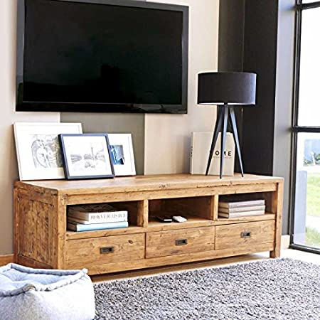 Meuble TV en bois de Teck recyclé - Niches et tiroirs