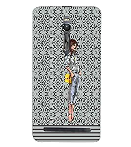 PrintDhaba Trendt Girl D-2155 Back Case Cover for ASUS ZENFONE 2 (Multi-Coloured)